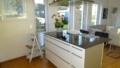 Küche mit Kochinsel und Ablufthaube
